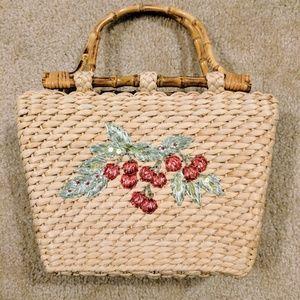 Handbags - Vintage Cherry Straw Handbag